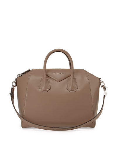Antigona Medium Leather Satchel Bag, Beige
