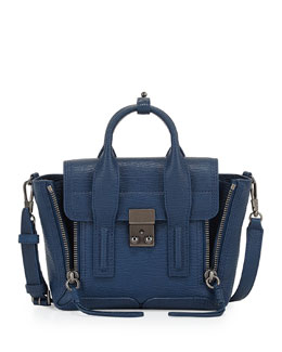 Pashli Medium Leather Satchel Bag, Blue