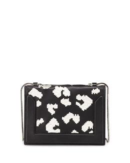 Soleil Mini Embroidered Chain Shoulder Bag, Black