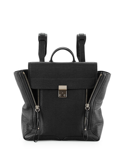 Pashli Zip Leather Backpack, Black