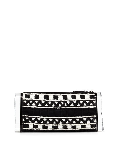 Lara Soft Embroidered Clutch Bag, Black/White