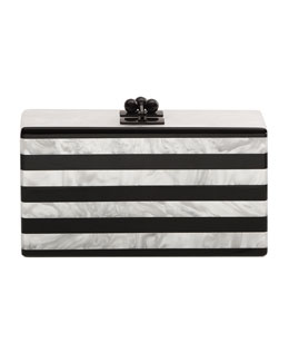 Jean Confetti Striped Acrylic Clutch Bag