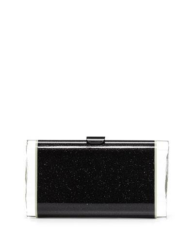 Lara Backlit Acrylic Clutch Bag, Obsidian Sand