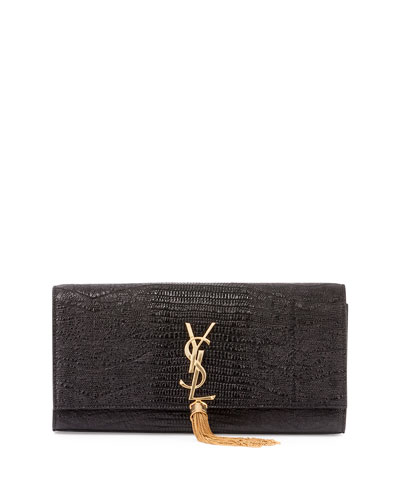 Monogramme Python-Stamped Clutch Bag, Black