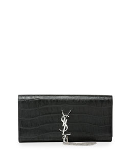 Monogramme Croc-Embossed Tassel Clutch Bag
