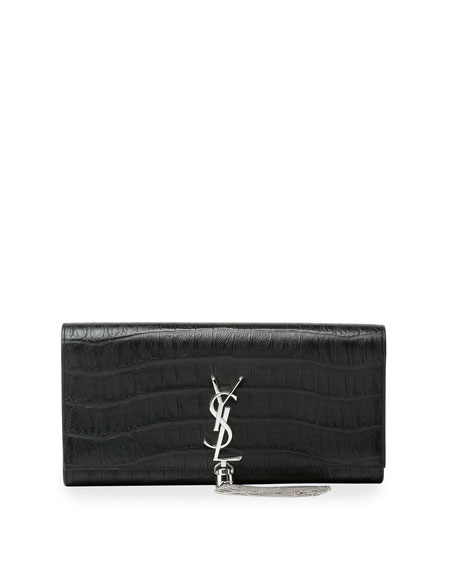 Saint Laurent Monogram Croc-Embossed Tassel Clutch Bag