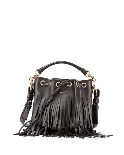 ysl black handbag - emmanuelle tricolor fringe bucket bag, red/pink/purple