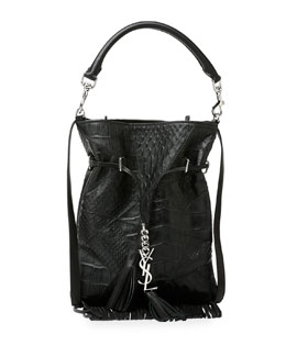 Monogramme Croc-Embossed Tassel Fringe Bucket Bag
