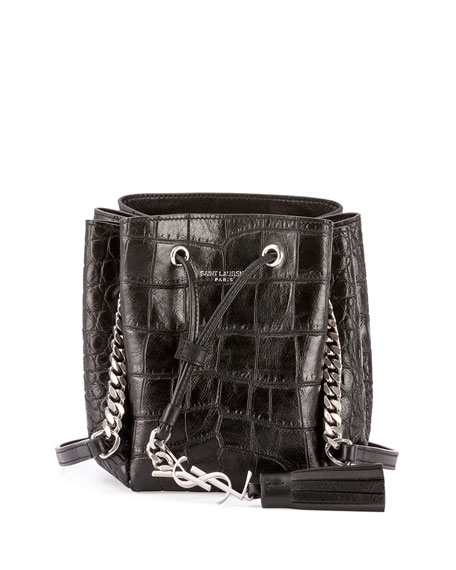 7e0181d4c56 Saint Laurent Monogram Tassel Croc-Embossed Mini Bucket Bag