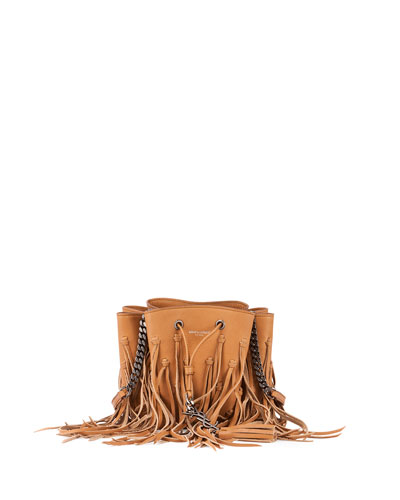 Monogram Knotted Fringe Bucket Bag