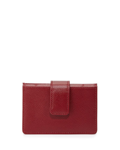 Saffiano Card Case, Red Pattern