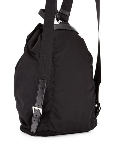 Nylon Flap-Top Backpack, Black (Nero)