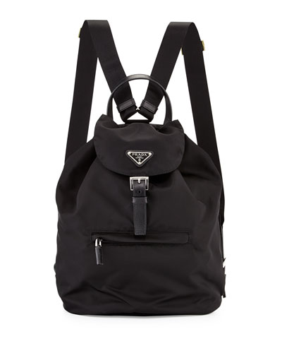 Nylon Flap-Top Backpack  Black (Nero)