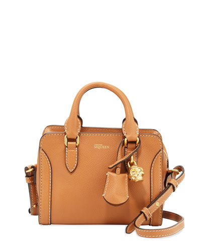 Mini Skull Padlock Leather Satchel, Camel