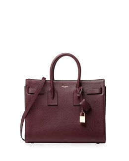 Sac de Jour Leather Small Carryall Bag, Burgundy