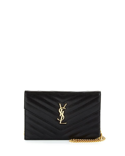 Monogram Chevron Quilted Shoulder Bag, Black