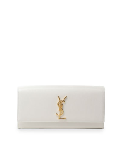 Monogram Calfskin Clutch Bag, White
