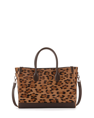 Leopard-Print Calf-Hair East-West Tote Bag, Brown