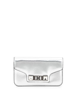 PS11 Metallic Leather Chain Wallet, Silver