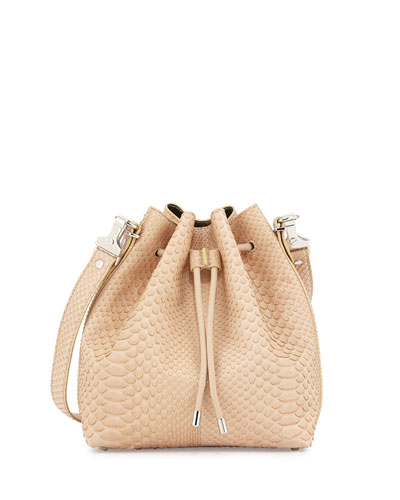 Medium Python Bucket Bag, Neutral