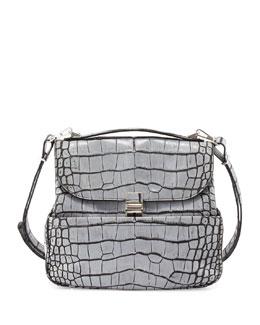 Kent Croc-Embossed Leather Shoulder Bag, Gray