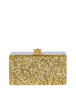 Jean Half-and-Half Confetti Clutch Bag, Silver/Gold