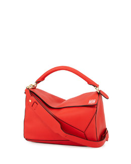 Flamenco Knot Small Bucket Bag, Red