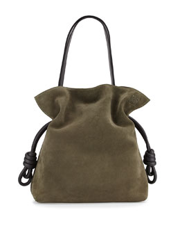 Flamenco Knot Suede Bucket Bag