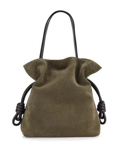 Flamenco Knot Suede Bucket Bag