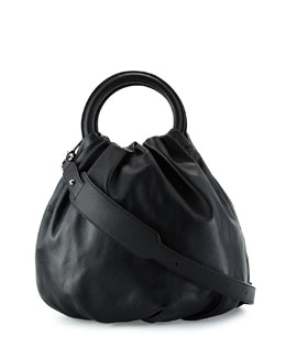 Lamb Leather Bounce Shoulder Bag, Black