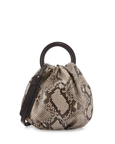 Bounce Python Shoulder Bag, Neutral