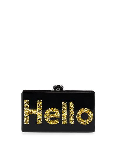 Jean Hello Box Clutch, Black/Gold