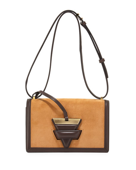 Barcelona 24 Suede Shoulder Bag, Tan