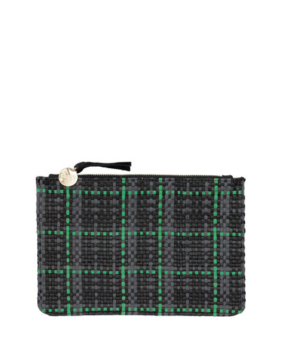 Soeur Petit Margot Woven Clutch Bag, Green
