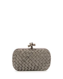 Metal Intrecciato Knot Frame Clutch Bag, Silvertone