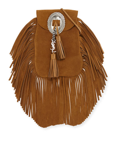 yves saint laurent luggage - anita fringed flat bag in ocher suede leather
