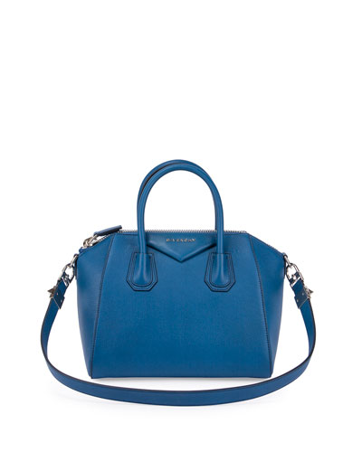 Antigona Small Sugar Goatskin Satchel Bag, Electric Blue