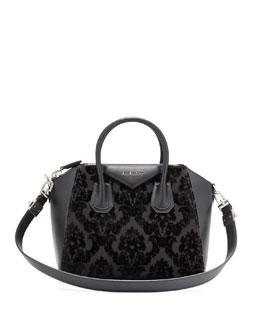 Antigona Small Devore Velvet Satchel Bag, Black