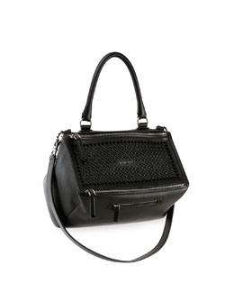 Pandora Studded Medium Leather Satchel Bag, Black