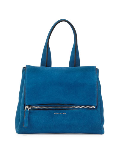 Pandora Pure Small Suede Satchel Bag, Electric Blue