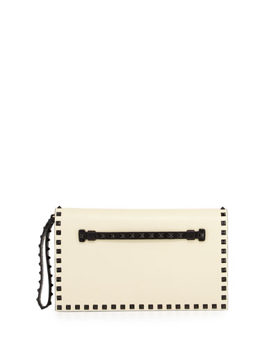 Bicolor Rockstud Leather Clutch Bag, Black/White