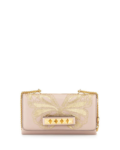 Va-Va-Voom Butterfly Shoulder Bag, Powder/Golden