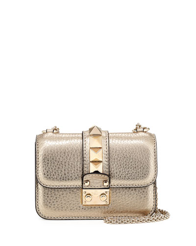 Small Metallic Rockstud Shoulder Bag, Alba