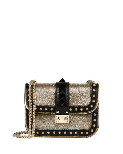 Glam Lock Glitter & Leather Shoulder Bag