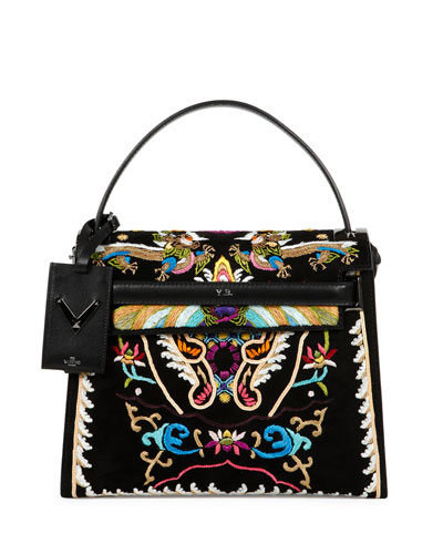 My Rockstud Dragon Embroidered Flap Bag, Black