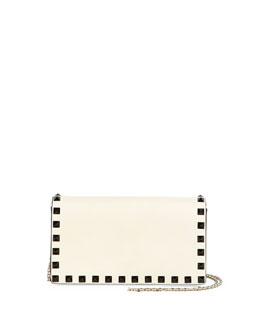 Bicolor Leather Rockstud Wallet-on-a-Chain