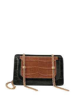 Boxy Bicolor Croc-Embossed Shoulder Bag