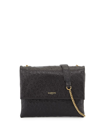 Sugar Mini Ostrich-Embossed Crossbody Bag, Black