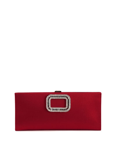 Crystal Pilgrim Buckle Clutch Bag, Red