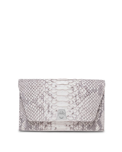 Anouk Sueded Python Mini Clutch Bag, Gray